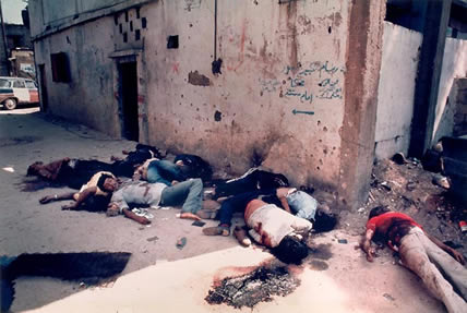Dead bodies of the Palestianian refugees in Lebanon (Robin Moyer, USA)