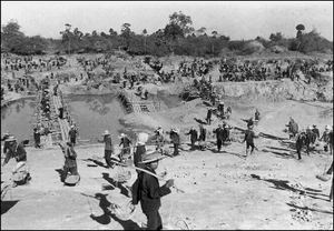 An undated picture provided by the Documentation Center of Cambodia shows forced laborers digging canals during Khmer Rouge rule nearly 30 years ago in Cambodia's Kampong Cham province.