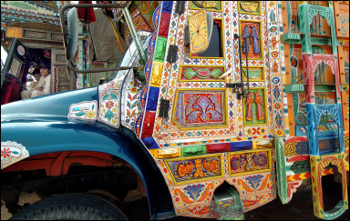 Pakistani trucks with artwork (AFP/Jewel Samad)