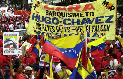 Supporters of Hugo Chavez (AP/Leslie Mazoch)