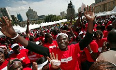 Crowd in Kenya at the Action Aid rally