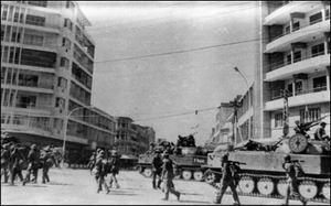 Khmer Rouge regime and genocide in Cambodia.